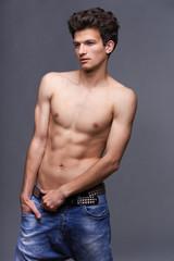 Male fashion model with modern haircut