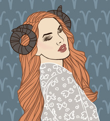 Illustration of Aries zodiac sign as a beautiful girl