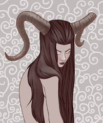 Illustration of Taurus zodiac sign as a beautiful girl