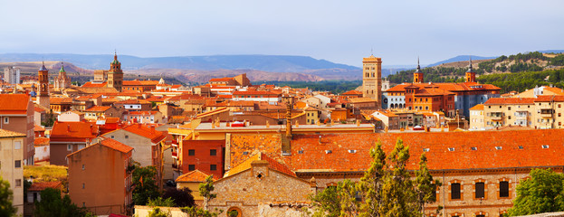 Panoramic  view of Teruel with main landmarks