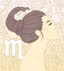 Illustration of Scorpio zodiac sign as a beautiful girl