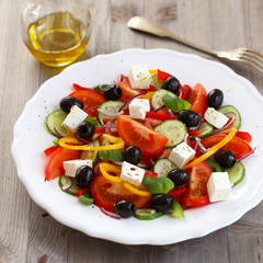 Summer salad with Feta cheese and olives