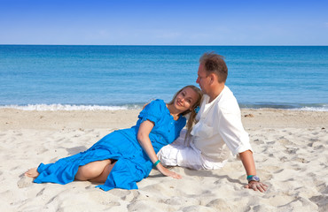 the loving couple on the seashore, Cuba, Varadero..