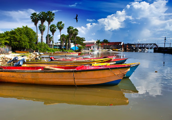 Jamaica. National boats on the Black river.