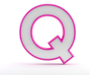 3D letter with glossy pink outline - Letter Q
