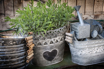tin metal garden pots