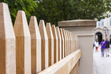 The decorative protection of park executed from wooden bars