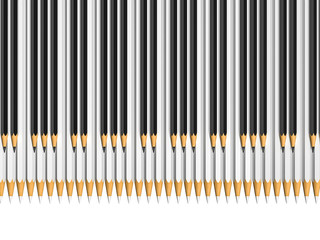 white and black pencils as piano keys