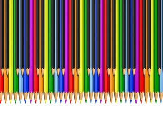 color and black pencils as piano keys