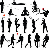 sport and recreation silhouettes - vector