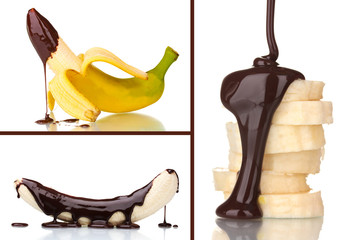 Tasty dessert collage - banana with chocolate isolated on white
