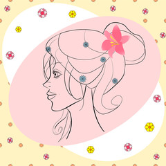 beautiful girl in profile with flowers in hair vector card