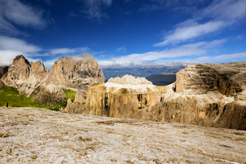 View to Alps from Sass Pordoi, Dolomites, Italia, Europe