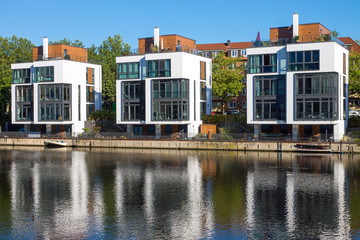 Modern residential houses at the water in Hamburg