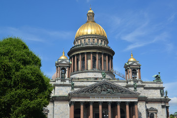 St. Petersburg. Fragment of St. Isaac's Cathedral in summer day