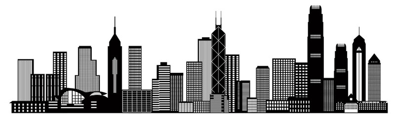 Hong Kong City Skyline Black and White Vector Illustration