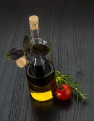 Oil, vinegar with rosemary