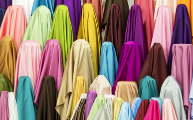 Color Clothes Display in Fabric Shops.