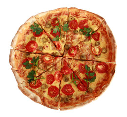 Italian pizza with cherry tomatoes on white background