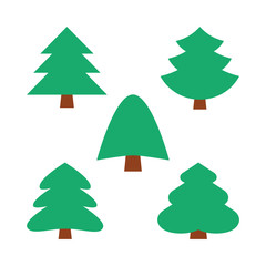 set of five christmas simple trees in green color