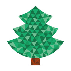 christmas simple green tree in triangular design