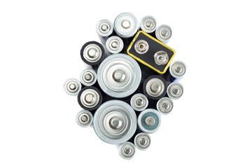 Variety of batteries viewed from above, isolated