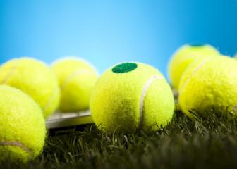 Tennis Ball closeup detail, grass