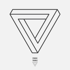 Penrose triangle, line design, vector illustration