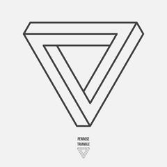 Penrose triangle, line design, vector illustration