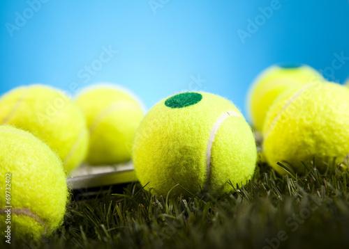 Fototapeta Tennis Ball closeup detail, grass