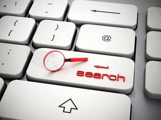 Magnifying glass on search key