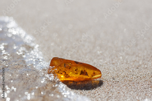 Poster Edelsteen amber stone with insect inclusion on sand at baltic seashore