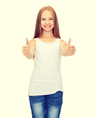 girl in blank white shirt showing thumbs up