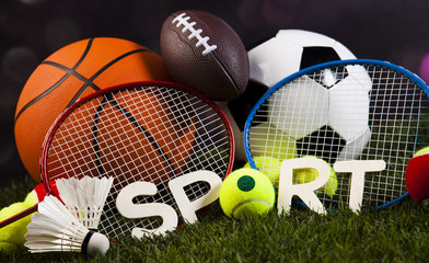 Sports balls with equipment