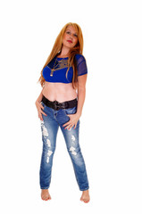 Tall woman in jeans.