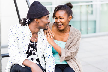 African couple in city