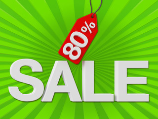 3d Sale Text with Percent Discount