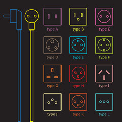 Colorful power socket set