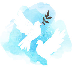 Doves on blue background
