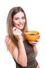 Women eating cereals