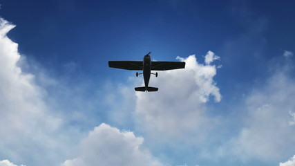 Small Airplane taking off with a sun and clouds background
