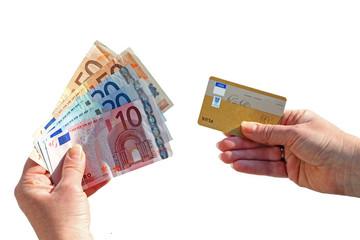 Bezahlung mit Bargeld oder Kreditkarte