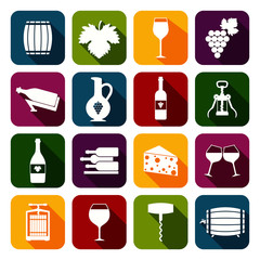 Wine icons set flat