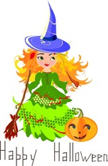 Halloween postcard with little witch and broom