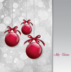 Red Christmas Balls on shiny card. Vector