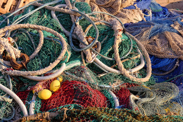 Fischernetze im Hafen von Cala Rajada, Mallora