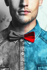 Dual male fashion portrait concept. Young and handsome hipster m