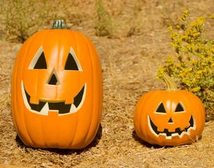 Halloween pumpkins on the grass