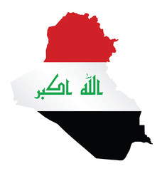 Flag of Iraq overlaid on outline map