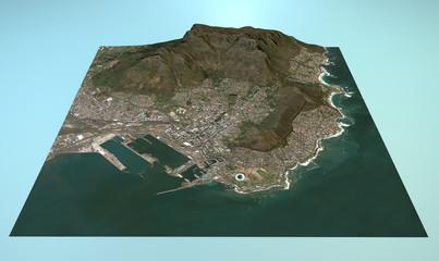 Veduta aerea di Città del Capo mappa in 3D